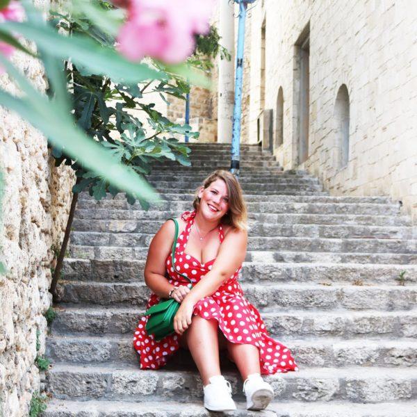 Mijn geliefde rood met witten stippen jurk!